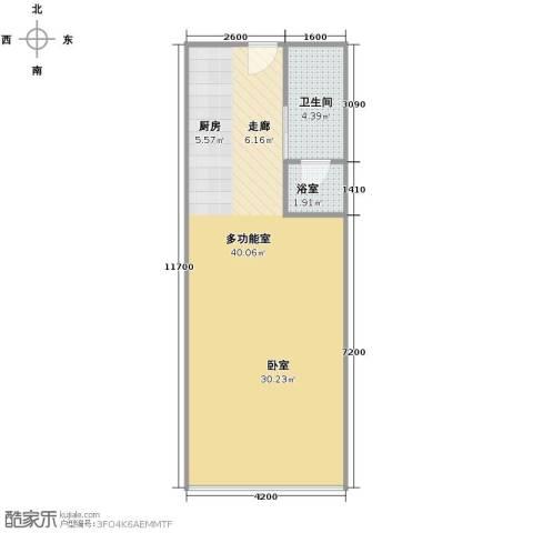 保利中汇广场1卫0厨61.00㎡户型图