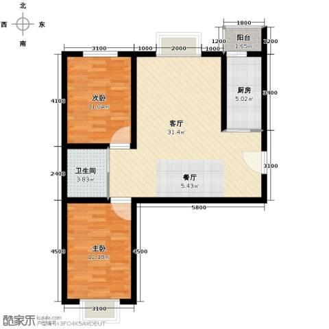 枫林逸景2室1厅1卫1厨92.00㎡户型图