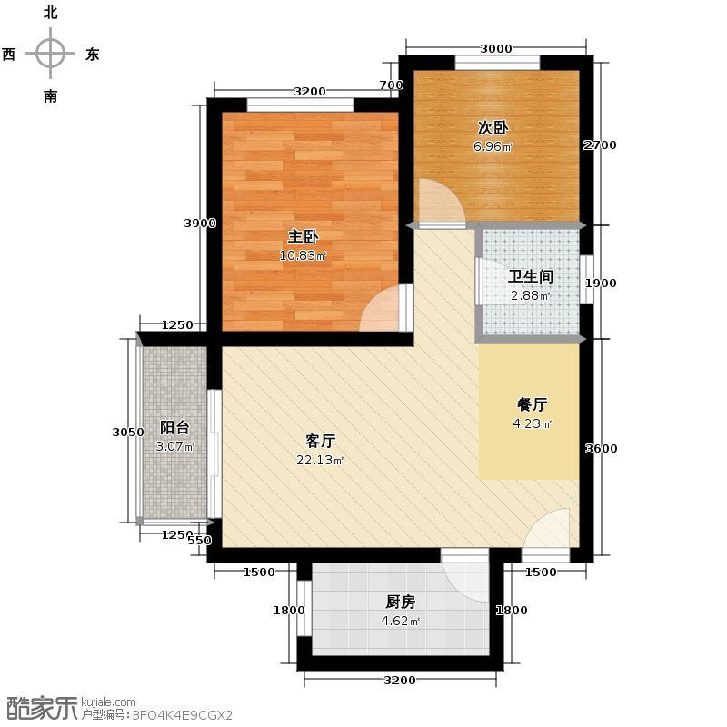 海兰嘉园67.00㎡C户型2室1厅1卫1厨