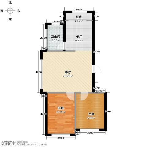 金华新村2室1厅1卫1厨81.00㎡户型图