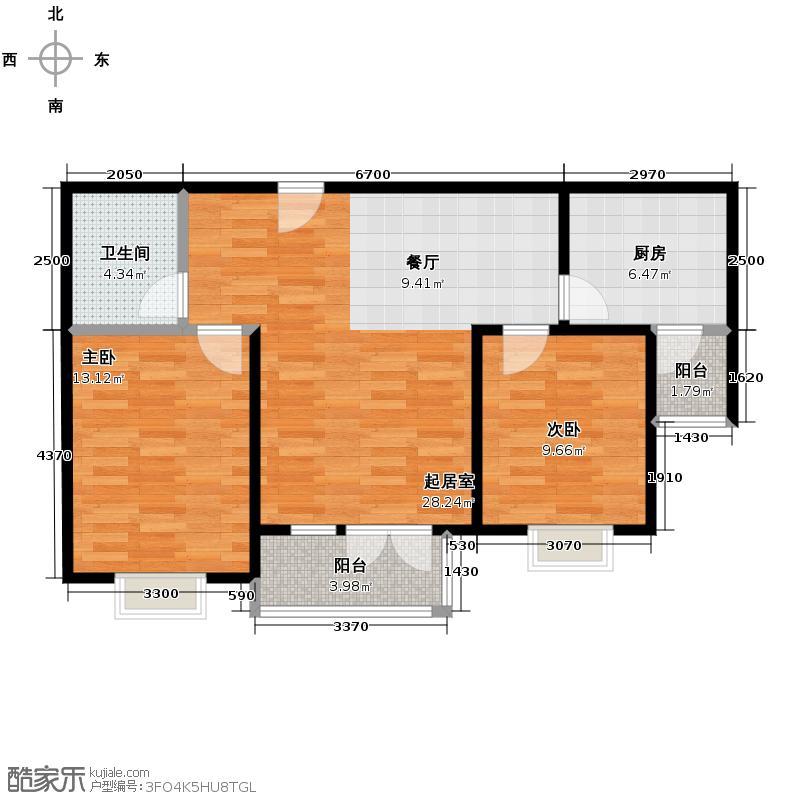 香水湾91.36㎡D2户型2室1厅1卫