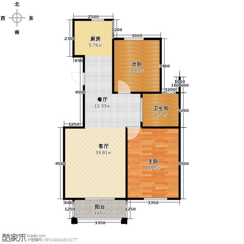 南湖明珠89.31㎡L户型2室2厅1卫