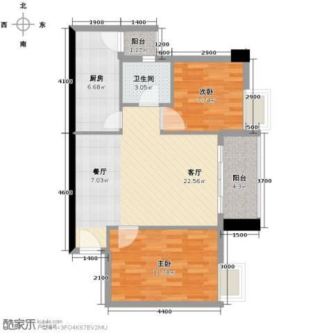 广弘天琪2室1厅1卫1厨81.00㎡户型图