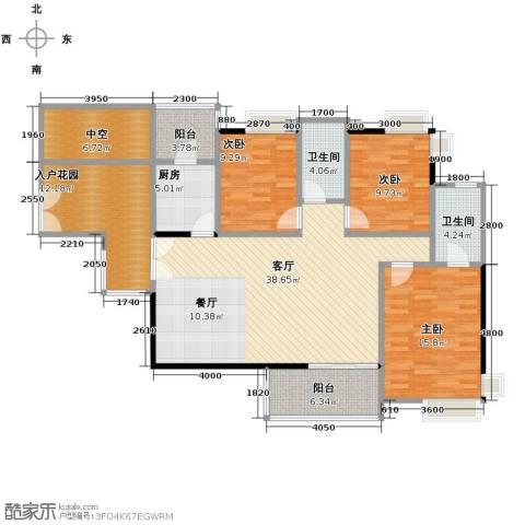 金域中央天玺3室1厅2卫1厨161.00㎡户型图