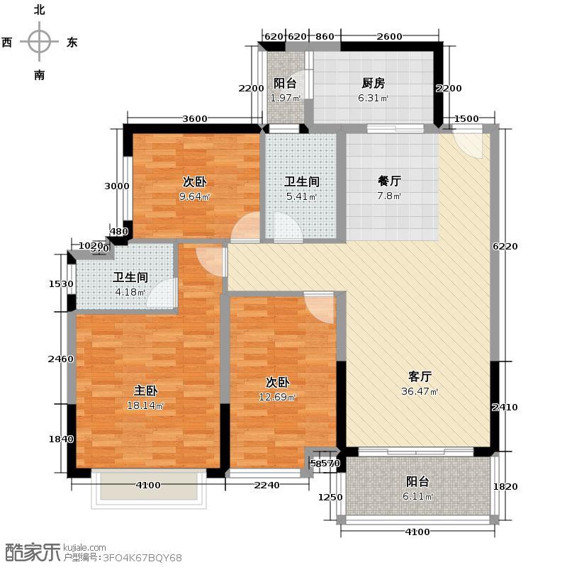 恒大银湖城126.05㎡8栋3-18层02户型3室2厅2卫