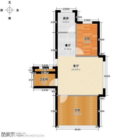 金华新村2室1厅1卫1厨73.00㎡户型图