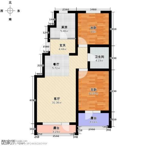万科蓝山2室1厅1卫1厨80.00㎡户型图