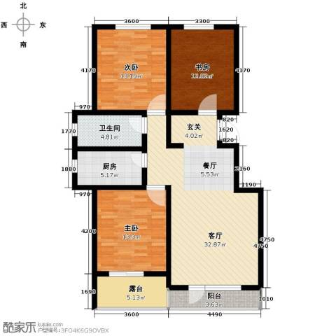 万科蓝山3室1厅1卫1厨120.00㎡户型图