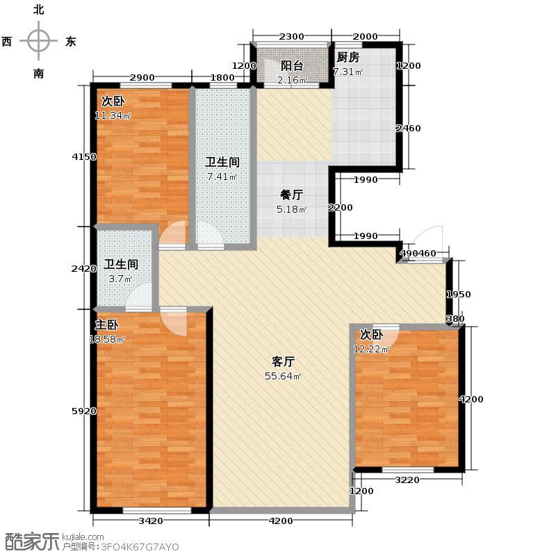 泉水润泽园134.16㎡户型3室2厅2卫