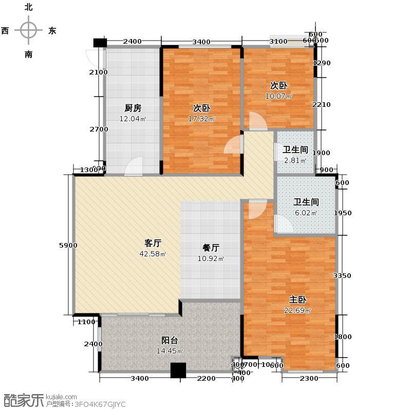 泽科港城国际锦云香缇136.24㎡B3-3户型3室1厅2卫1厨