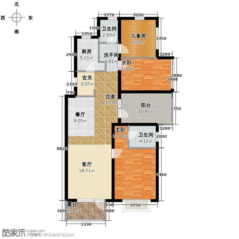 金隅・观澜时代133.00㎡A4户型3室2厅2卫