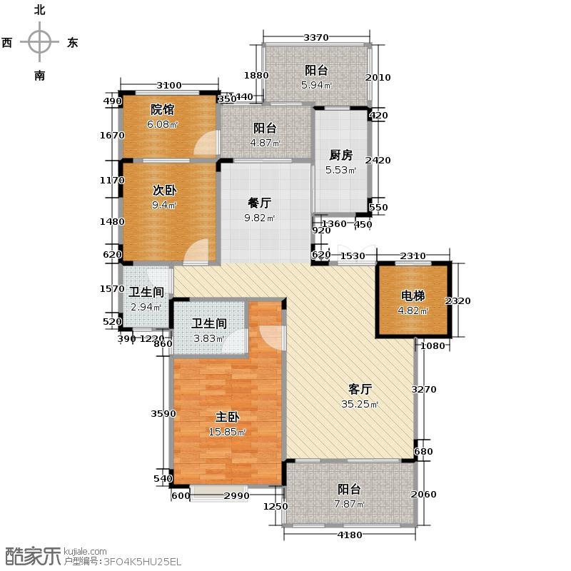 和泓四季81.00㎡一期洋房13栋A型3F标准层户型2室2厅2卫