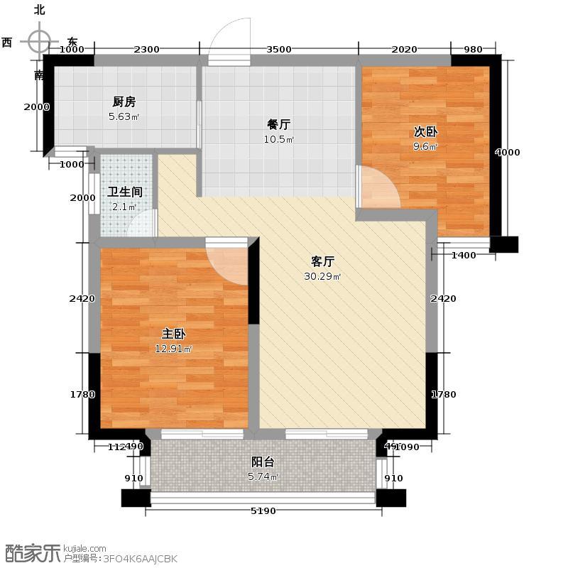 鑫天御景湾88.17㎡F1户型2室2厅1卫