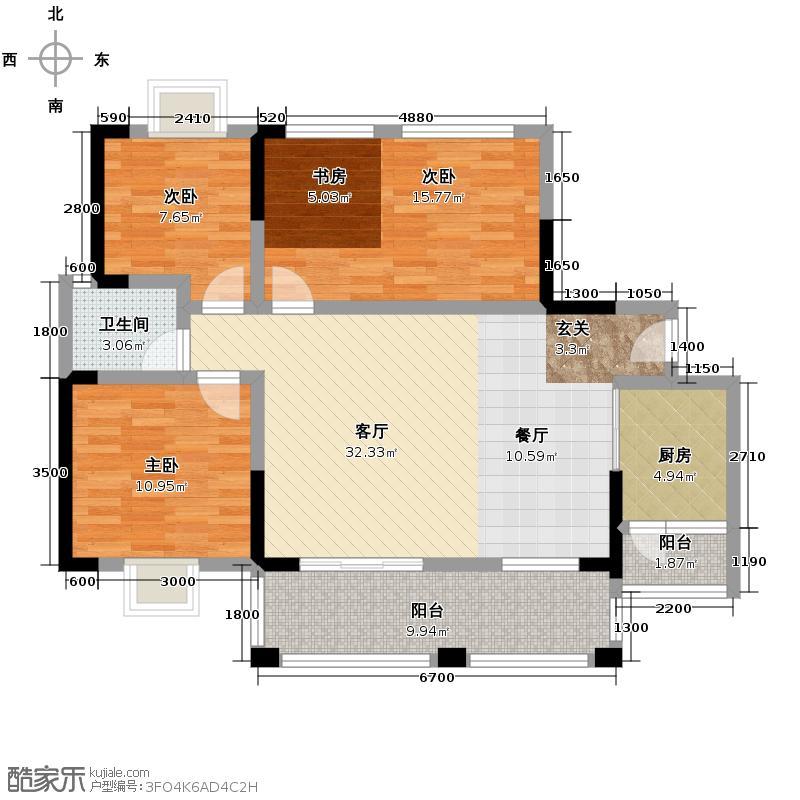 中铁金山84.50㎡二期B3型赠送装修建议户型3室1厅1卫1厨