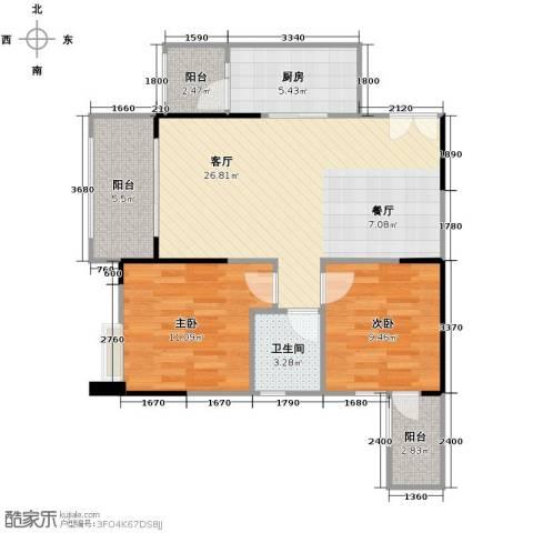 财信沙滨城市2室2厅1卫0厨80.00㎡户型图