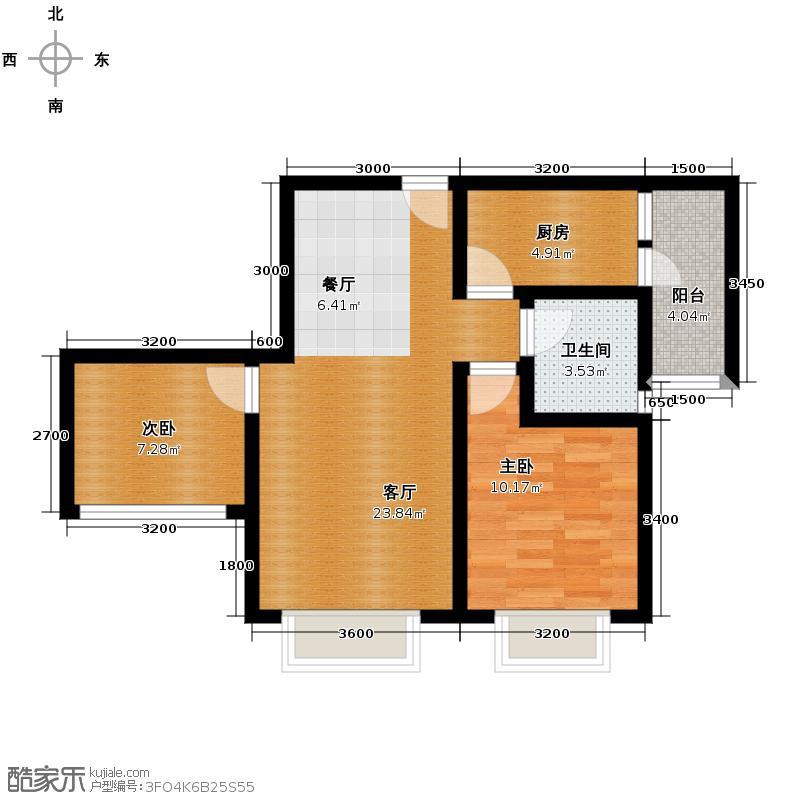 美丽时光63.01㎡1/2/3号楼楼层平面图户型2室1厅1卫1厨