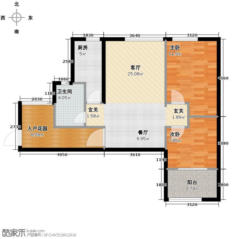 铂宫Ⅱ中山庭76.42㎡A-10户型2室1厅1卫1厨