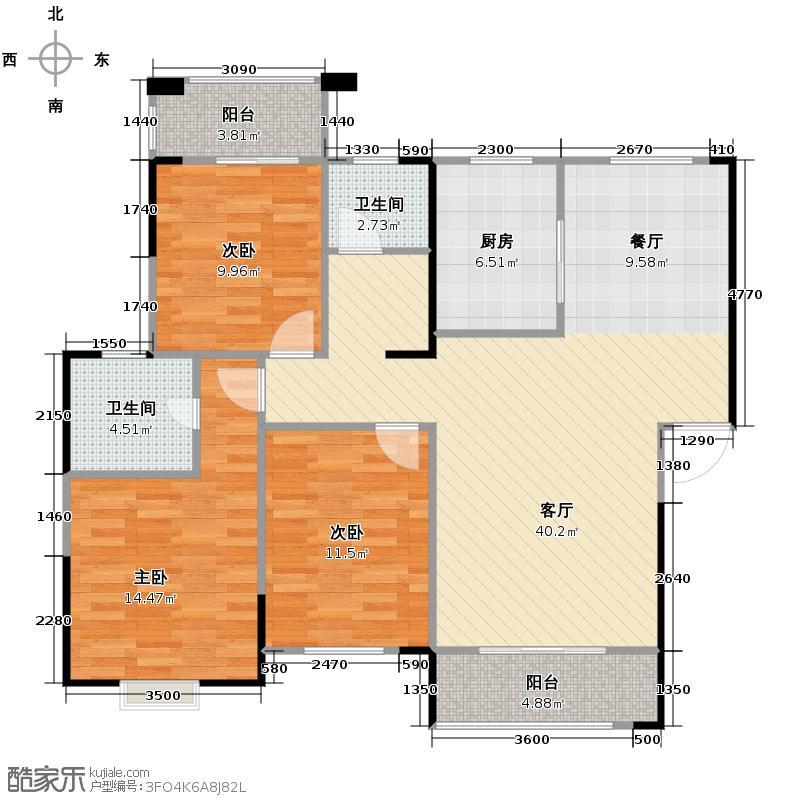 鑫天御景湾131.86㎡E1户型3室2厅2卫