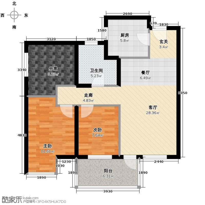莱安逸境91.00㎡2#楼户型2室1厅1卫1厨