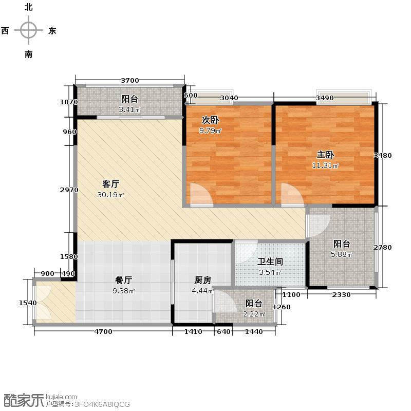 华宇金沙时代70.69㎡三期4号楼3-29层1号房户型2室1厅1卫1厨