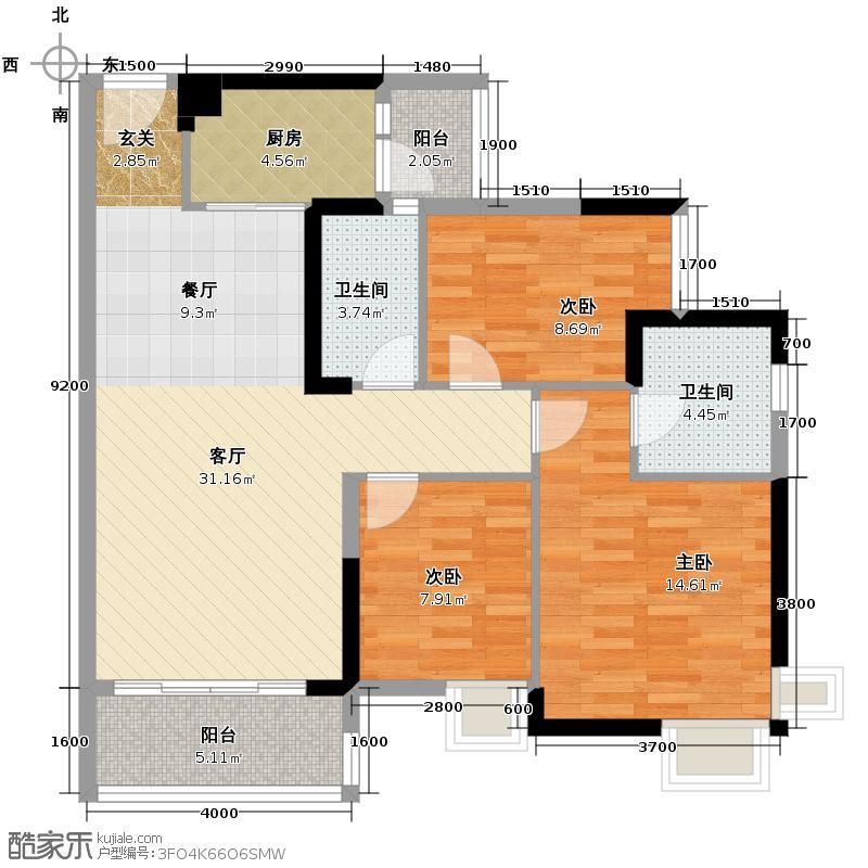 尚上名筑105.00㎡A3栋01单位户型3室2厅2卫
