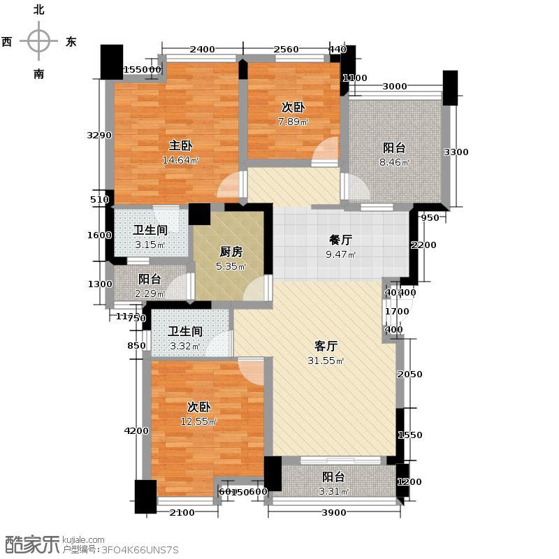 华宇楠苑110.74㎡6栋2单元2号户型3室1厅2卫1厨