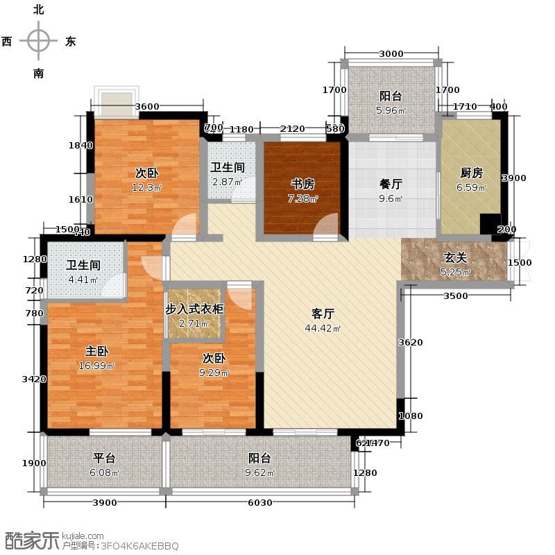 长房时代城157.92㎡10#D2户户型4室2厅2卫