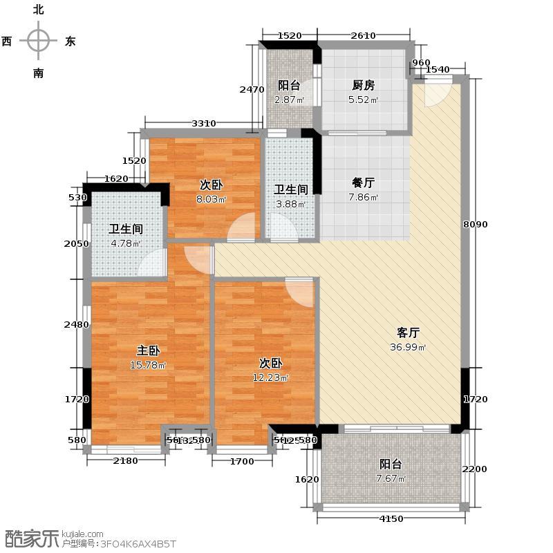 宏诚海峰花园114.90㎡10栋03单位户型3室2厅2卫