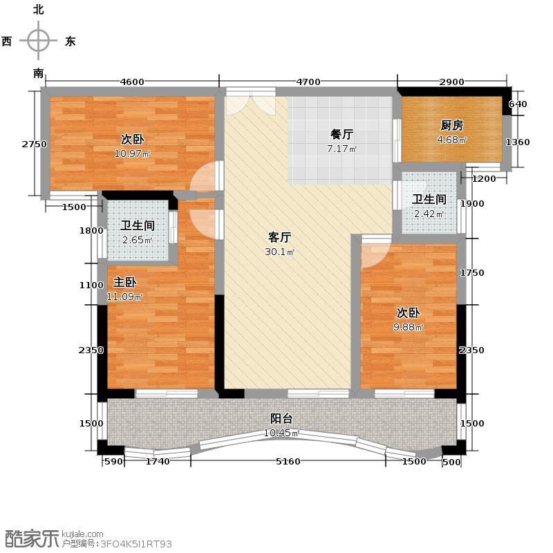 浩龙音乐界89.43㎡C3户型3室2厅2卫