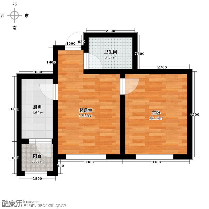 泰达星海湾52.00㎡户型1室1厅1卫
