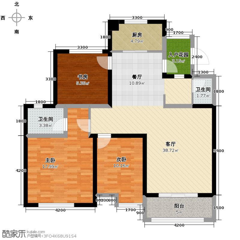 蓝谷小镇98.98㎡C4、5户型3室1厅2卫1厨