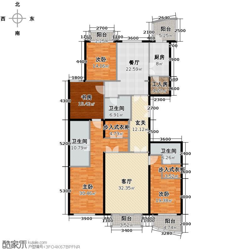 公园1872224.83㎡6号楼E1户型4室2厅3卫
