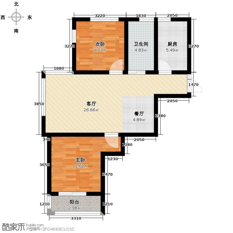 金御瞰景89.78㎡一期8、9、10、11号楼标准层A1户型2室2厅1卫