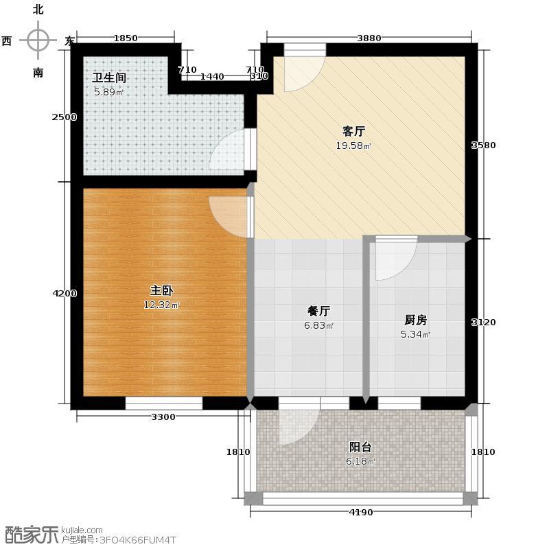 金筑家园71.18㎡E户型1室2厅1卫