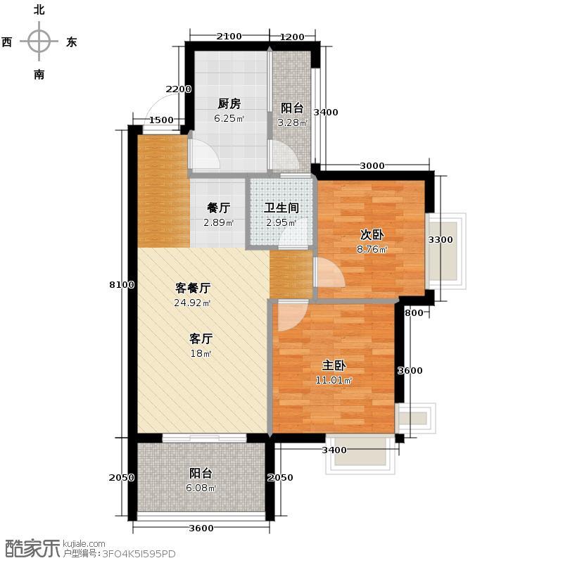 东原D7区67.40㎡3#5号楼J户型2室2厅1卫