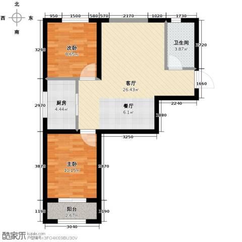 尚湖名筑2室1厅1卫1厨81.00㎡户型图