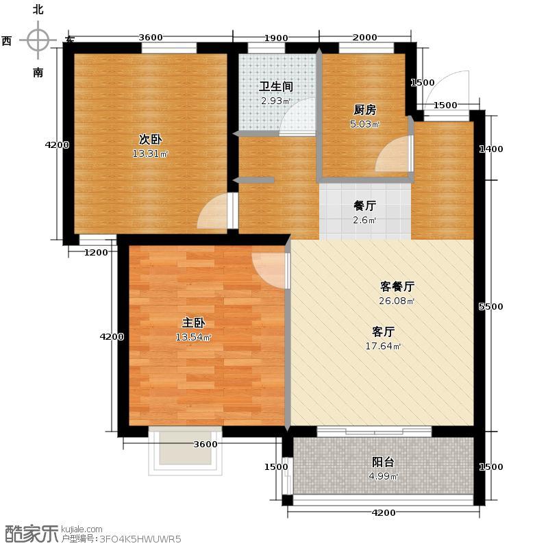 龙瑞尚苑85.00㎡1栋B-1户型2室1厅1卫