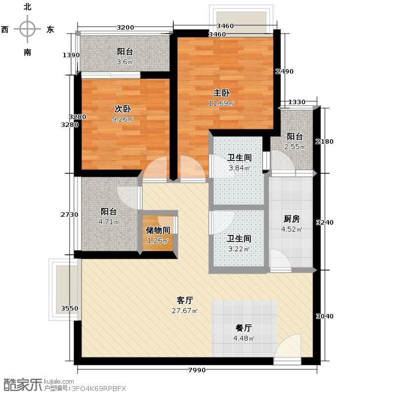 龙湖春森彼岸77.00㎡B2双卫+空中花园户型2室2厅2卫
