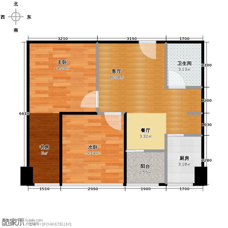 汇融新贵公馆48.70㎡户型2室1厅1卫1厨