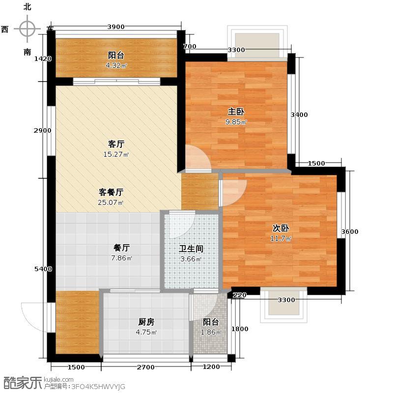 七星恋城79.31㎡B-5标准层户型2室1厅1卫1厨