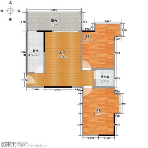 银汇华庭2室1厅1卫1厨81.00㎡户型图