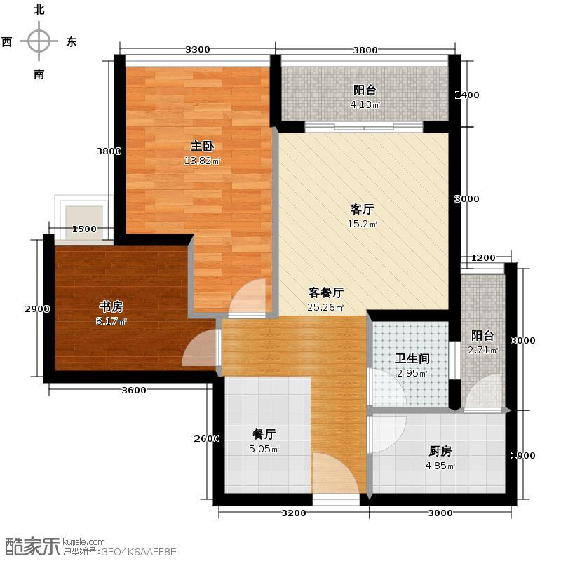 颜龙山水城70.80㎡户型2室2厅1卫