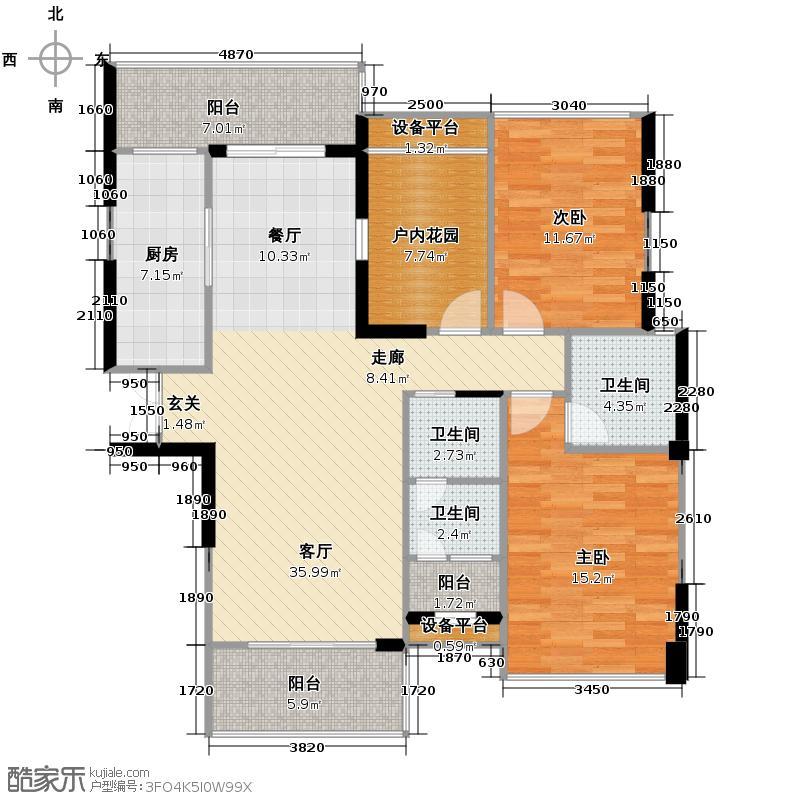江景华府123.00㎡C户型3室2厅2卫