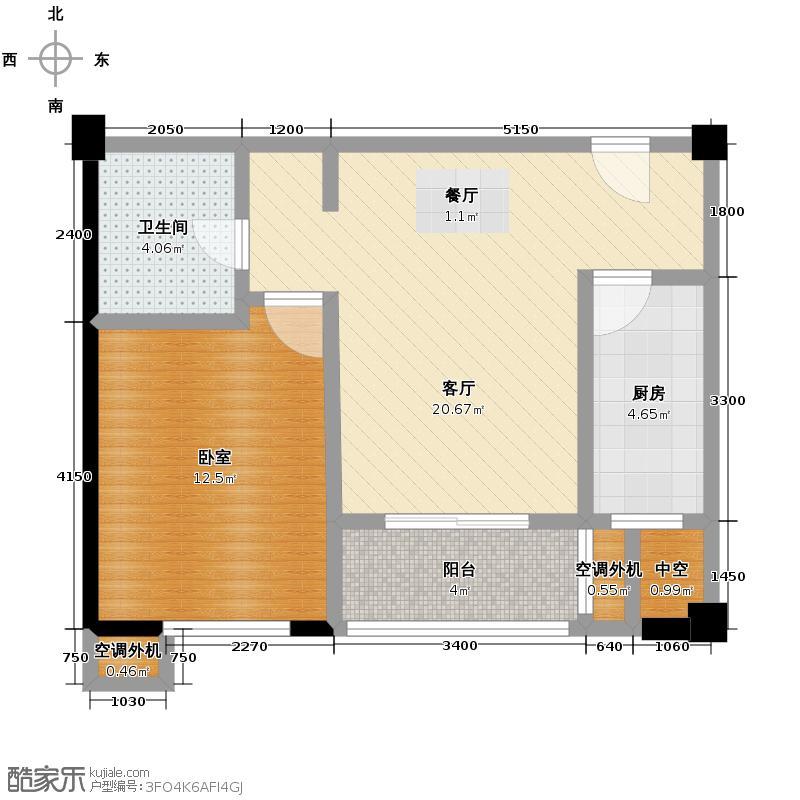 西安民乐园万达广场65.48㎡B2户型1室1厅1卫