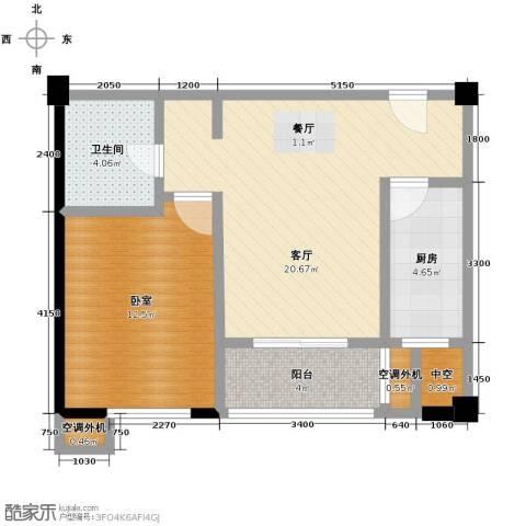 西安民乐园万达广场1室1厅1卫0厨55.79㎡户型图