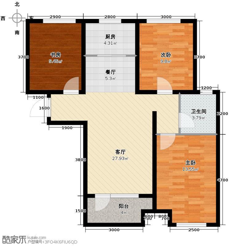 永定河孔雀城英国宫85.00㎡X13+户型2室2厅1卫