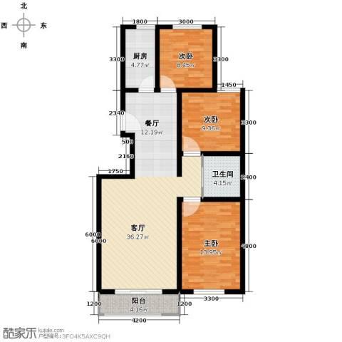 枫林逸景3室1厅1卫1厨116.00㎡户型图