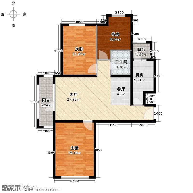 永定河孔雀城英国宫103.04㎡A3户型3室2厅1卫
