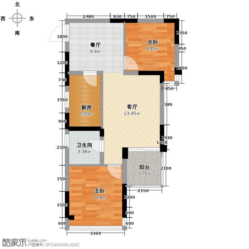 金阳易诚国际70.24㎡2011年1月在售1号楼B19户型2室1厅1卫1厨