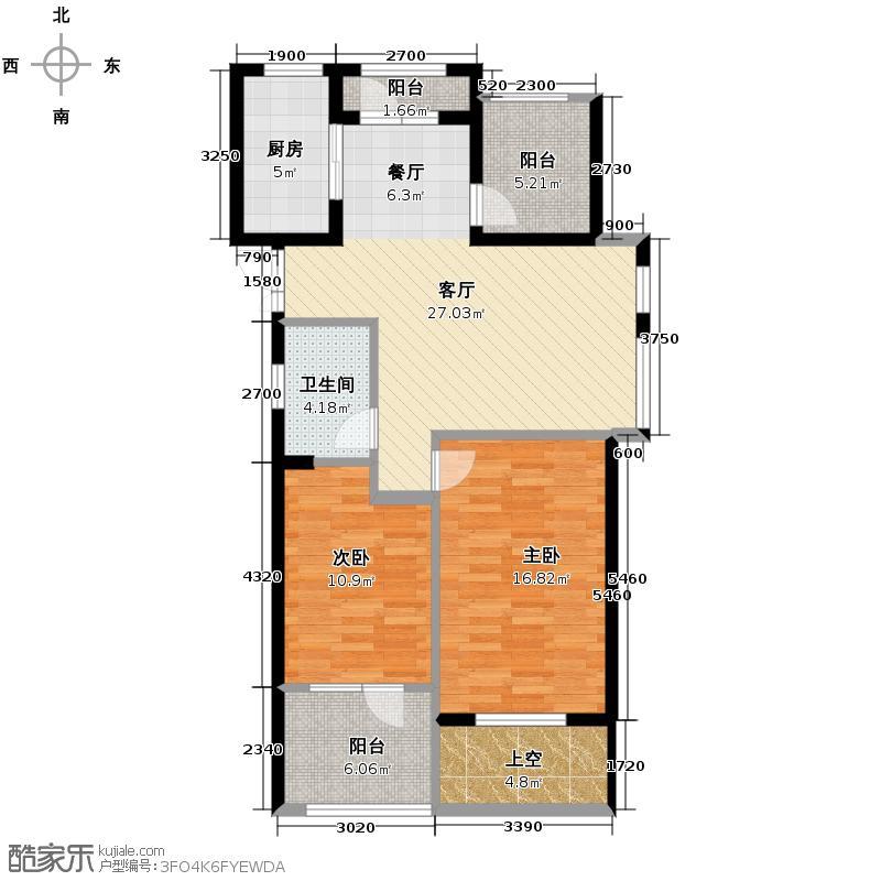 丽晶湾95.00㎡C户型2室1厅1卫